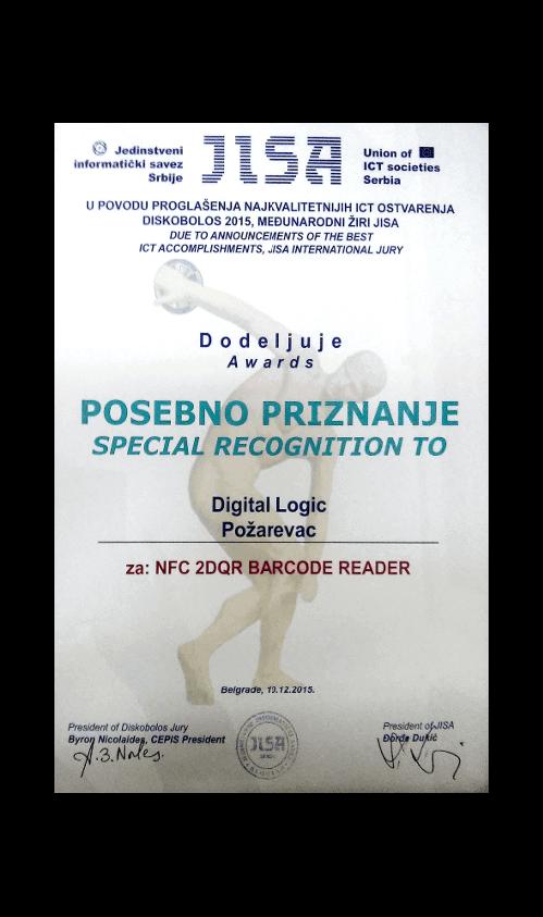 Posebno priznaje Jedinstvenog informatičkog saveza Srbije za NFC 2DQR barkod čitač