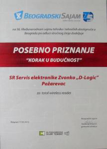 Priznanje Beogradskog sajma za Total Wireless Reader
